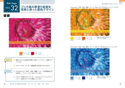 配色デザインのアイデアです。「CMYK」「RGB」「Webカラー」と3種類のカラーコードが記載されているので,どんなジャンルのデザインにも使うことができます