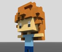 髪の毛と腕を構成するボクセルが接している