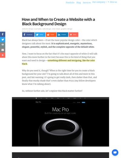 図4 黒い背景のウェブサイトをデザインする際のヒント