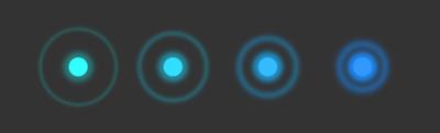 図2 並んだ要素に順に波紋のような弾けるアニメーションが加わった
