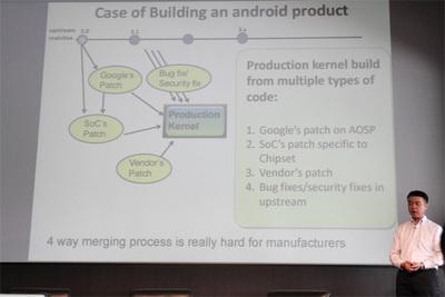 Androidデバイスでは,バックポートされたバグフィクスやセキュリティパッチや,googleから提供されるパッチに加え,端末が採用しているチップベンダーによるパッチ,デバイスを製造したベンダーからのパッチの4種類があり,サポートが複雑化している